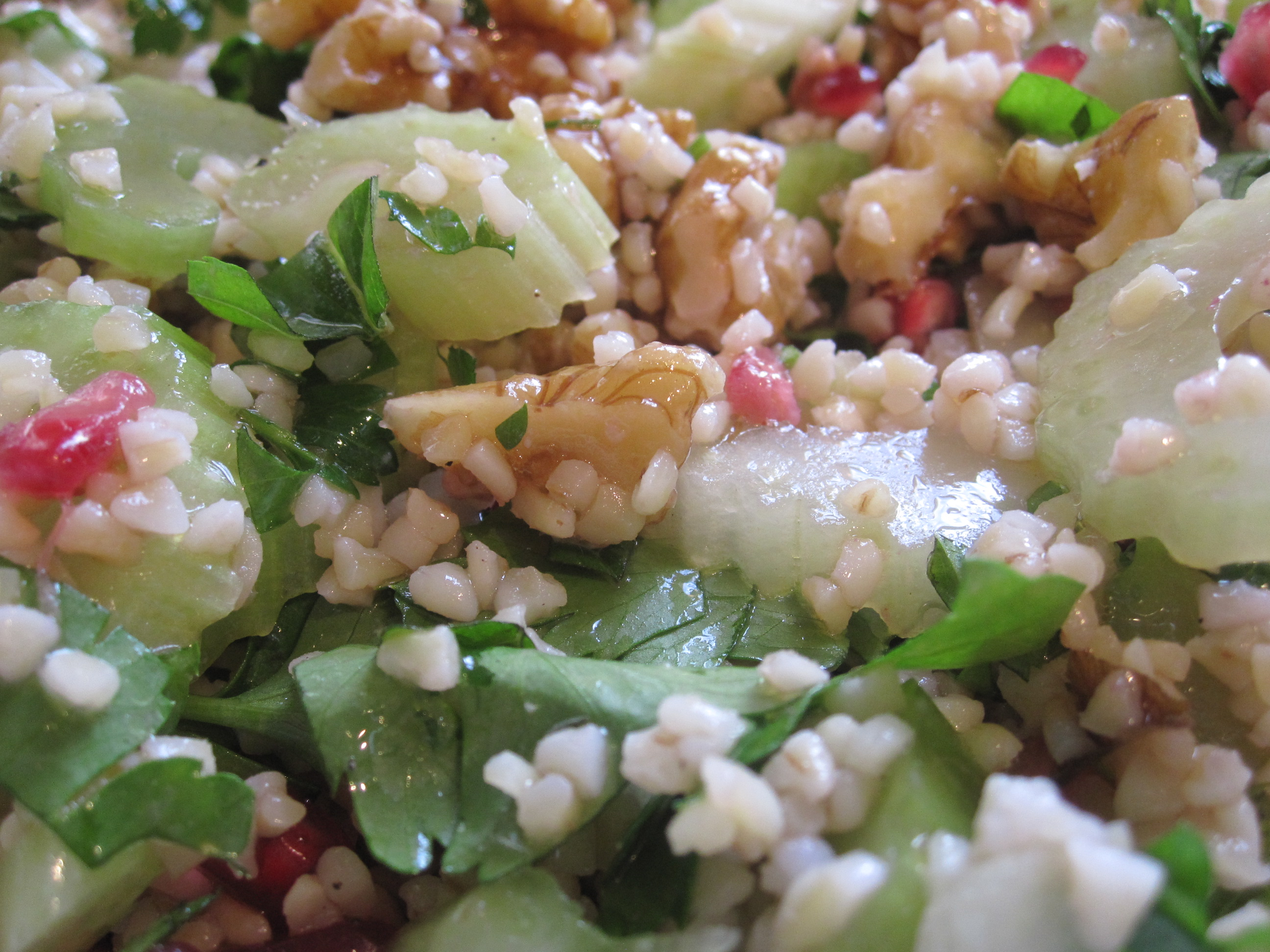 Bulgur, Celery And Pomegranate Salad Recipe — Dishmaps