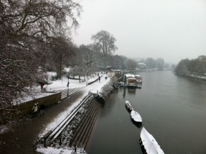 Richmond Riverside in the snow