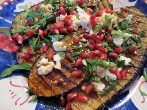 Griddled Aubergine with Feta & Pomegranate