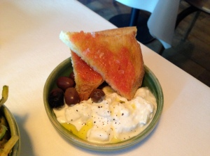 Burrata with tomato bread at Tinello