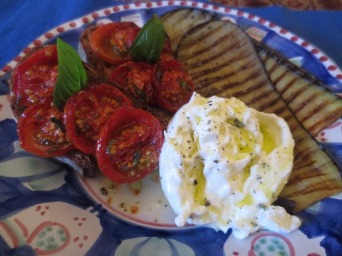 Burrata, Aubergine & Roasted Tomatoes